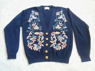 Vintage 70s 80s Embroidered Floral Knit Blue Cardigan Jumper Womens Sweater!!