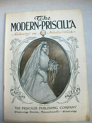 The Modern Priscilla Magazine April 1908, Bride with Bouquet of Flowers