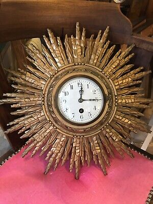 Japy Freres French Wooden Starburst 19th c Clock Enamel Face Needs Atten