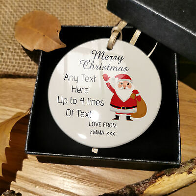 Personalised Family Christmas Tree Bauble Gifts Plaque Friends Santa Decoration