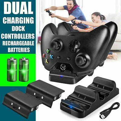 Dual Charging Dock +2x Rechargeable Batteries For Xbox One Controller Charger