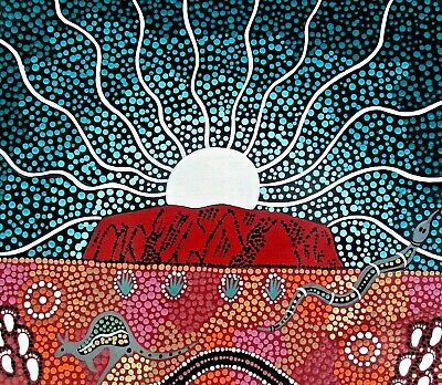"""Aboriginal painting by Pati on canvas """"Uluru Dreaming"""" signed comes with COA"""