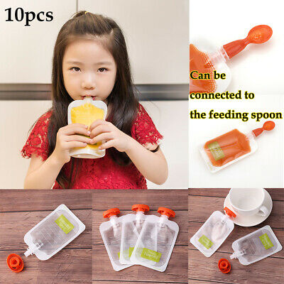 10PCS Reusable Baby Squeezed Pouch Weaning Food Puree Squeeze Storage Food Bag