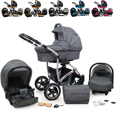 Baby Pram 3in1 Travel System Buggy Car Seat Carrycot Pushchair From Birth