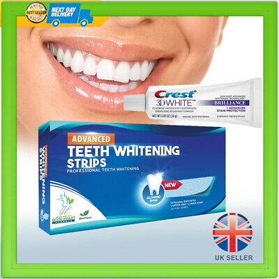 24 Teeth Whitening Strips Advanced + 3D Whitening Toothpaste 12 Day Course