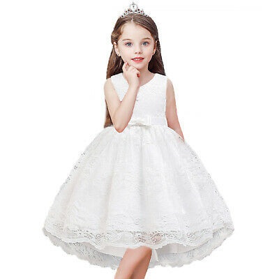 Flower Girls Dress Party Wedding Bridesmaid Floral Lace Bowknot Outfit Prom Gift