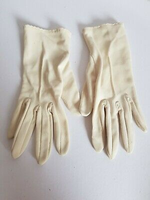 vintage ladies cream nylon gloves size 6½