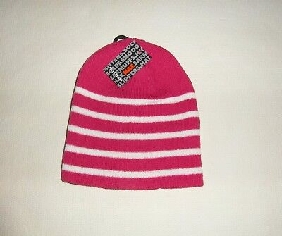 Girls Striped Beanie Wool Hat Pink and White Striped - size 10 - 13  years
