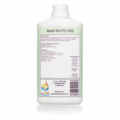 1L Mobil Esso Nuto H32 H44 ISO VG 32 Hydraulic Fluid Oil