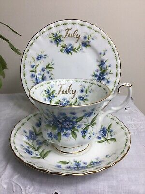Royal Albert Bone China Flower Of The Month Series   July Forget Me Not Tea Trio