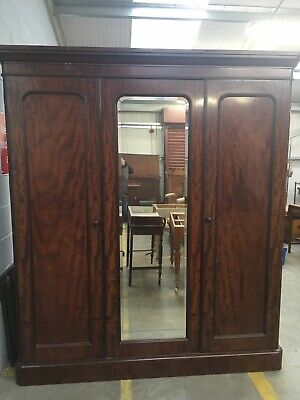 Large Victorian mahogany triple Door door linen press wardrobe, Made By Maple Co