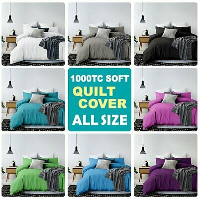 1000TC Quilt/Duvet/Doona Cover Set Single/KS/Double/Queen/K/Super King Size Bed