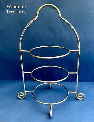 Vintage 3 Tier Chrome Metal Cake Stand Afternoon Tea - Good Condition