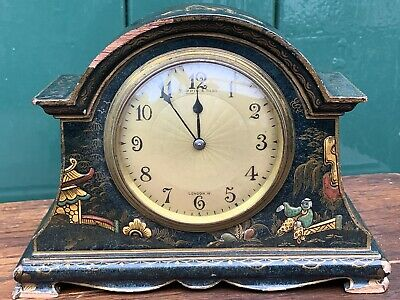 Antique Mappin & Webb Chinoiserie Lacquered Mantle Clock French Movement