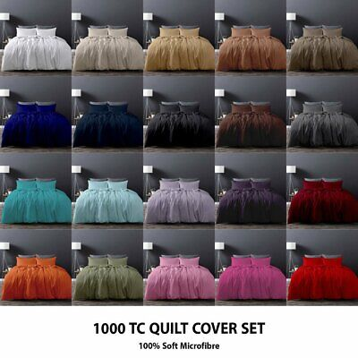 1000TC Microfiber Quilt/Duvet/Doona Cover Set Double/Queen/Super/King Size Bed