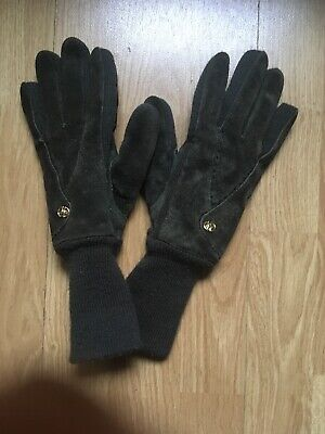 Vintage 80s Berkertex Navy Brown  Suede Leather Gloves Size Medium