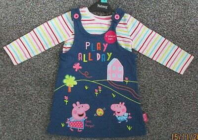 Girls Peppa Pig George Pinafore Dress And Long Sleeved Top Outfit Set New