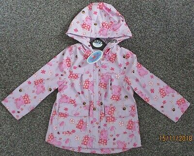 Girls Peppa Pig Fleece Lined Coat Hooded Jacket Showerproof Raincoat Pink Mac