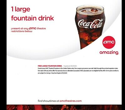 AMC Theaters 1 Large Drink - Exp 6/30/2020 - Email Delivery