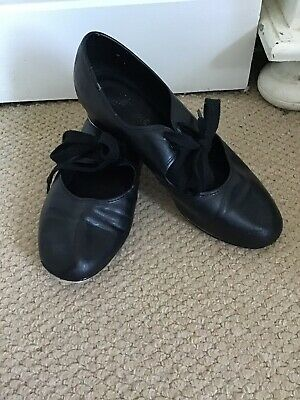 BLACK TAP SHOES FAUX LEATHER ROCHE VALLEY SIZE 4.5 Heel And Toe Taps