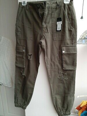 Girls New Look Bnwt Army Green Cargo Trouser With Rips & Side Pockets Age 14 Yrs