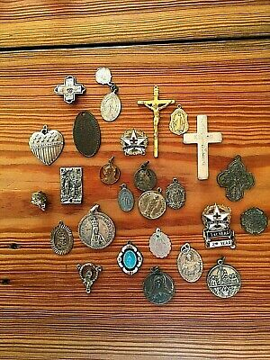 Lot of vintage religious crosses, pendents and charms