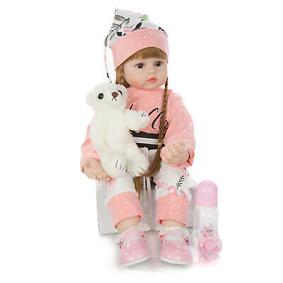 24'' Toddler Reborn Doll Real Look Baby Girl Doll Soft Cloth Body Kids Xmas Gift