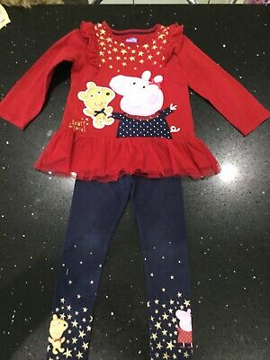 Peppa Pig Winter Red Top And Navy Leggings Age 3-4 Years