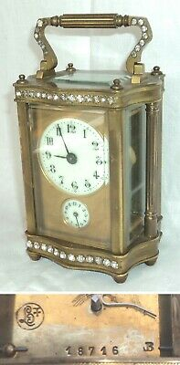 Rare Antique 8 Day CARRIAGE Ornate Brass Alarm Clock w/ Paste Brilliants Key