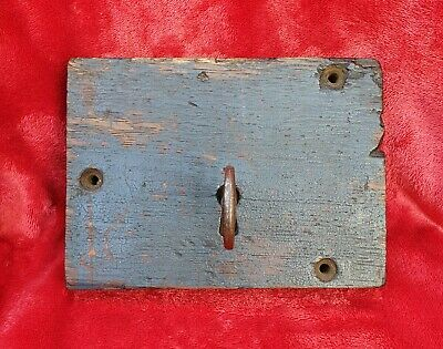 An Antique Early Victorian Wood Encased Door Lock With Original Key, Working.