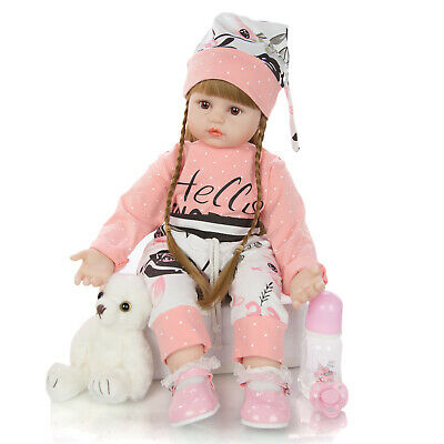 24'' Reborn Baby Dolls Soft Cloth Body Toddler Girl Doll Real Size Look Xmas Toy