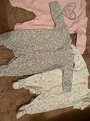 Baby Girls Next Sleepsuits 0-3 Lovely Condition 💖