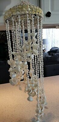Hand Made Hanging Sea Shell Chandelier 31 In.