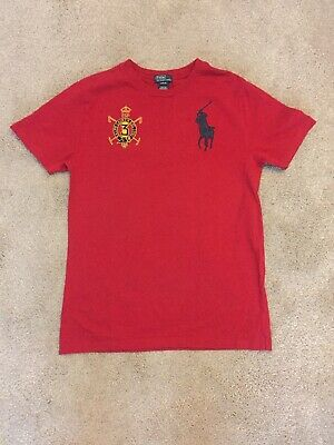 Red Polo Ralph Lauren T Shirt With Spain Graphic Kids Large (14-16)