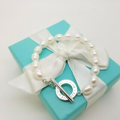 New Design Tiffany & Co Sterling Silver Pearl 7' Inch Toggle Bracelet Pouch Box