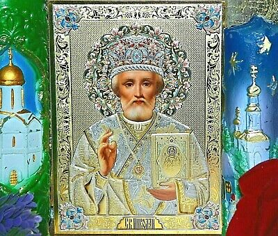 St Nicholas  Wonderworker Russian Orthodox icon triple gold and silver embossing