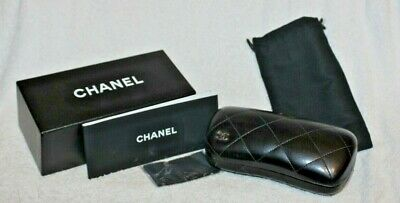 Chanel Glasses Sunglass Case Black Quilted Leather Hard Clam Shell CC Logo NEW