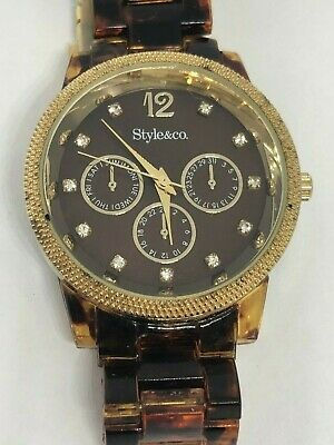 Working Ladies Gold and Faux Tortoise Shell Style&Co Watch BC