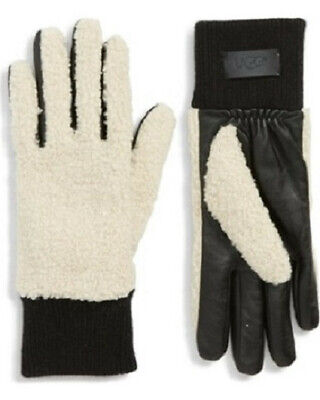 UGG Faux Shearling Touchscreen Compatible Gloves Black / Cream MSRP$75