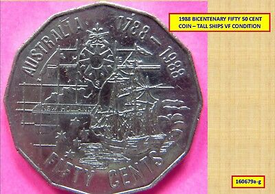 1988 BICENTENARY 50 CENT VF COIN – TALL SHIPS 160679g...#