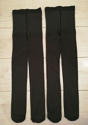 M&S Girls Grey Thick Opaque Party Tights 6-7y X2 Pairs - Worn Once