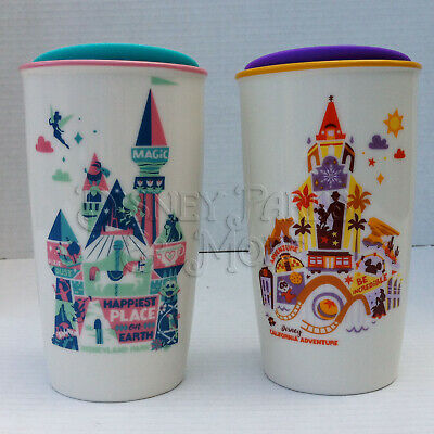 Disney Parks Disneyland & DCA Starbucks Been There Tumbler Mug To Go Cup Set