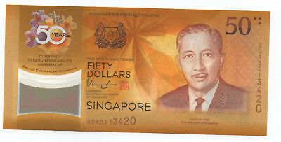 SINGAPORE $50 Comm 50 Yrs Currency Interchangeability with Brunei Unc 2017
