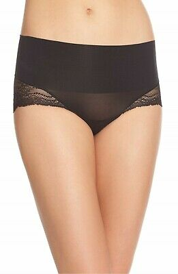 NWOT Spanx Undie-tectable Lace Hipster Shaping Briefs Panties, Black, Size M