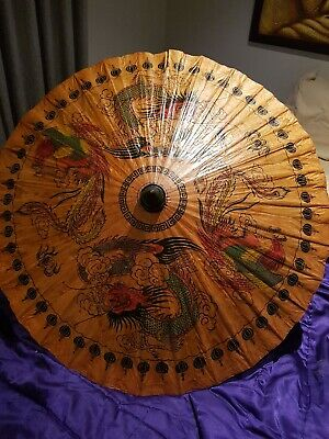 OIL PAPER UMBRELLA Parasol Chinese Decor HANDMADE Teak Leaf Bridal BAMBOO Rare