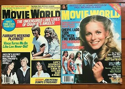 2 1970s vintage movie world magazine sept nov 1977 charlies angels farrah cheryl