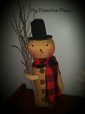 Primitive Farmhouse Country Snowman Doll Christmas Winter