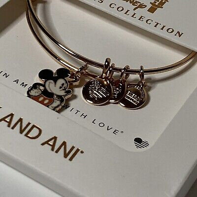 Disney | Alex And Ani | Mickey Silhouette Rose Gold Charm Bracelet | NEW