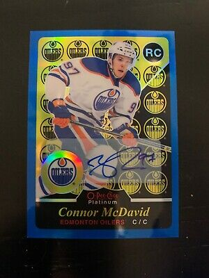 2015-16 O-Pee-Chee OPC Platinum CONNOR McDAVID Blue Rainbow Retro RC Auto