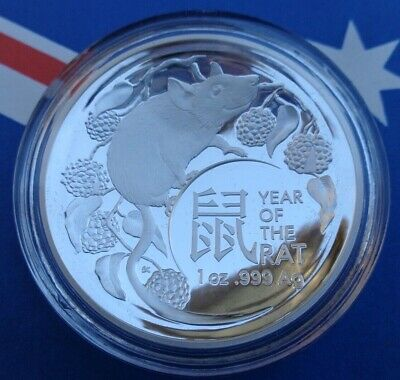 2020 Australian Year Of The Rat $5 Domed Proof silver coin .999 fine silver